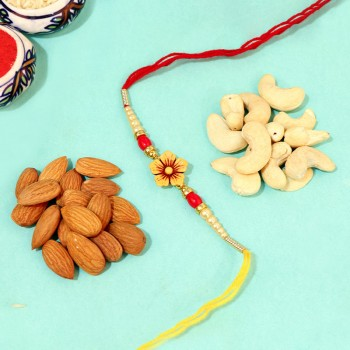 Colorful Bead Rakhi with Blooms