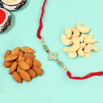 Royal Floral Diamond Rakhi with Almonds and Cashews