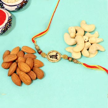 Enticing Gold Rakhi with Nuts