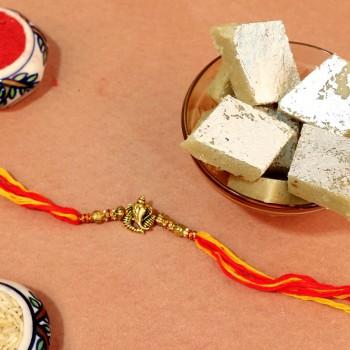 Good Vibe Ganesha Rakhi With Sweet