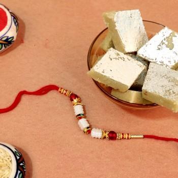 Gleaming White Stone Rakhi N Kaju Katli