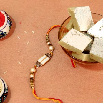 Precious White Stone Rakhi Combo