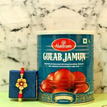 Colorful Bead Rakhi N Tasty Gulab Jamun