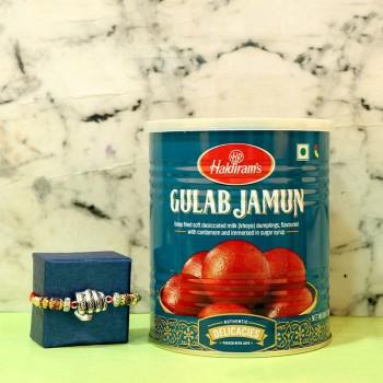 Pretty Rakhi With Gulab Jamun