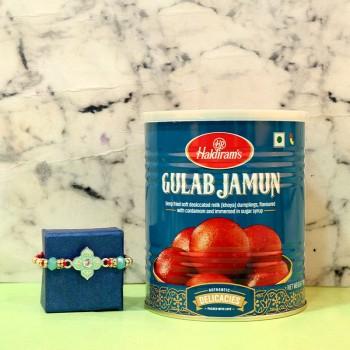 Lustrous Diamond Rakhi N Gulab Jamun Treat