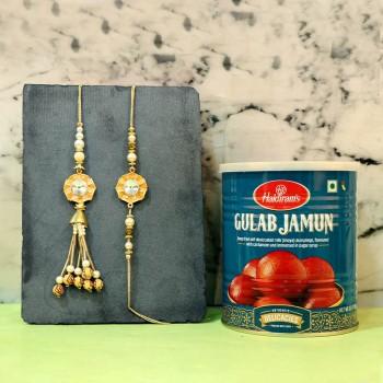 Heart Winning Golden Diamond Rakhi Combo