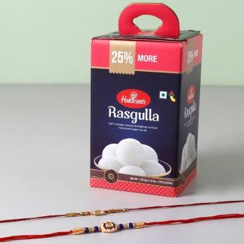 Set Of 2 Rakhis And Rasgulla Combo