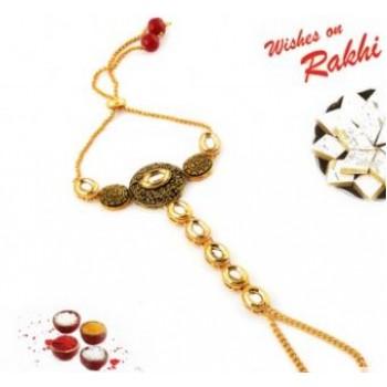 Golden Bangle Style Lumba Rakhi for Bhabhi