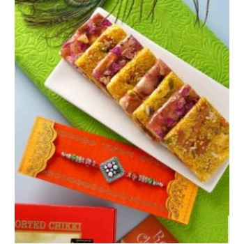 Classy Colurful Beads Rakhi With Assorted Chikki