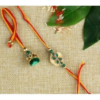 Green Beads Work Bhaiya Bhabhi
