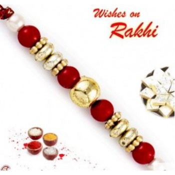Red And Golden Solid Round Beads Rakhi