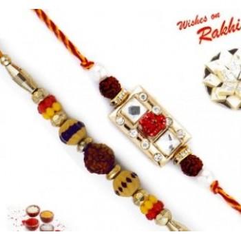 Set Of 2 Colorful Rudraksh And Mauli Rakhi