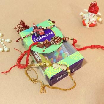 Set of 3 Fancy Rakhi with Cadbury Celebration