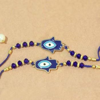 Fancy Combo of Blue Evil Eye Rakhi