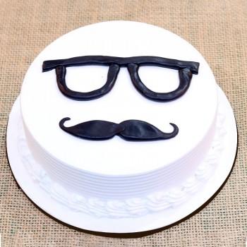 alf Kg Vanilla Cream Cake decorated with Fondant Specks and Mustache