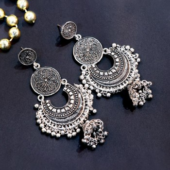 Designer Silver Jhumkas Set