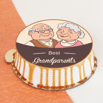 Adorable Grandparents Photo Cake