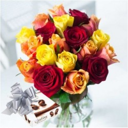 Mixed Roses with Guylian Chocs