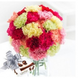 Big Carnations Bouquet with Chocolate