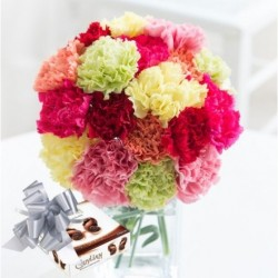 18 Carnations Bouquet with Chocolate