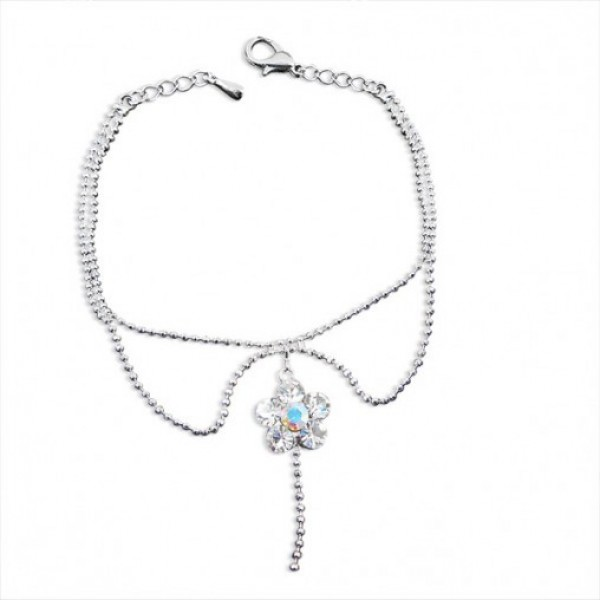 Embellished Floral Twin Chain Anklet