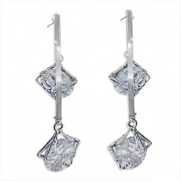 Silver Twin Stone Earrings