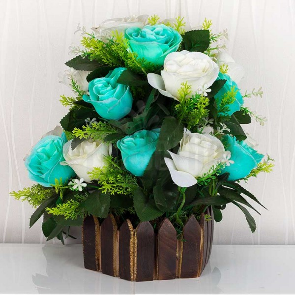 White and Blue Artificial Rose Arrangement