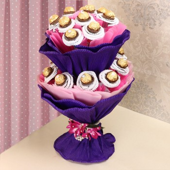 Bouquet of 24 pcs Ferrero Rocher Chocolates in Paper Packing