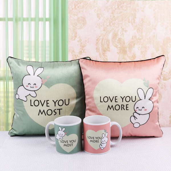 Love Hamper of Mug and Cushion for Couples