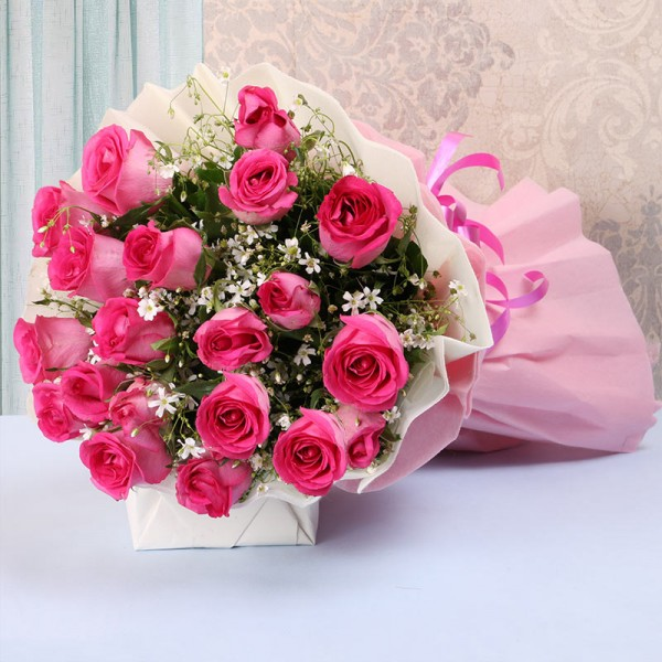 20 Pink Roses in Paper Packing