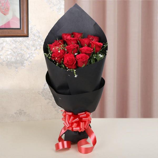 Roses in Black Paper Bouqet