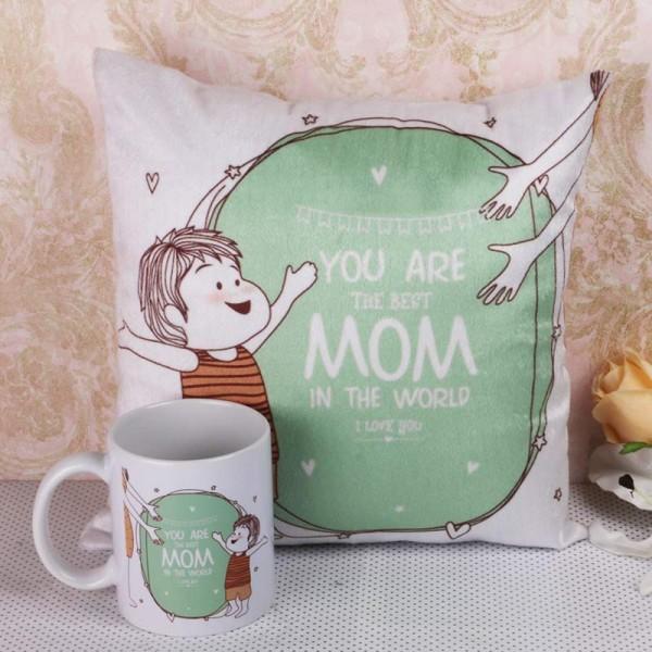 Best Mom Printed Mug and Cushion