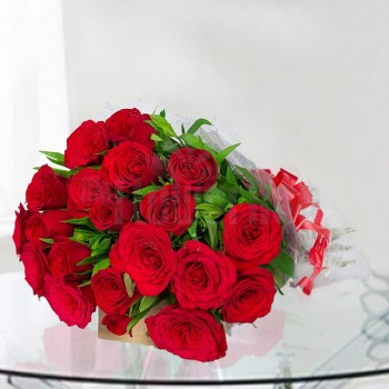 20 Red Roses wrapped in cellophane