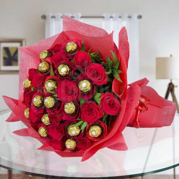 Designer Bouquet of 10 Red Roses with 16 Pcs Ferrero Rocher wrapped in red special paper