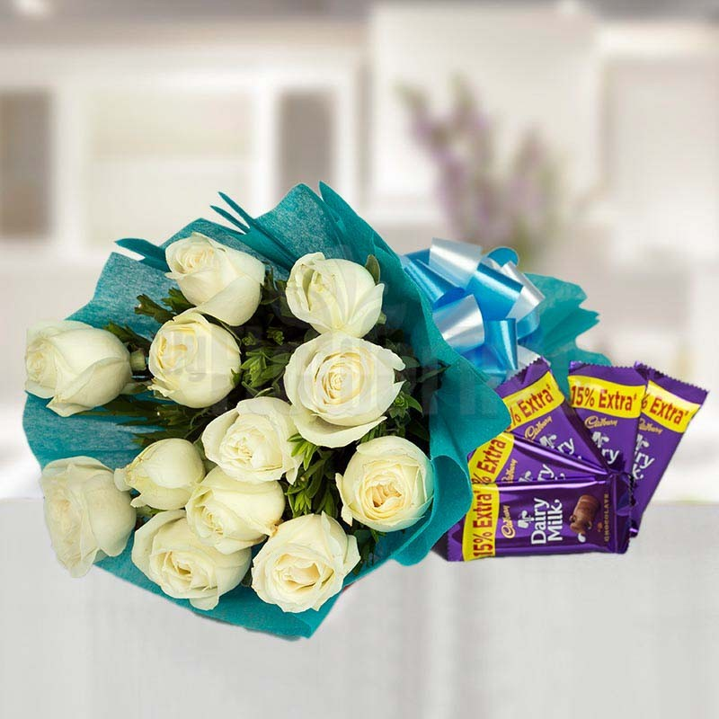 White Roses with Chocolates