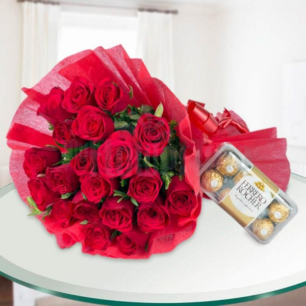 20 Red Roses wrapped in crape paper with 16 Pcs Ferrero Rocher