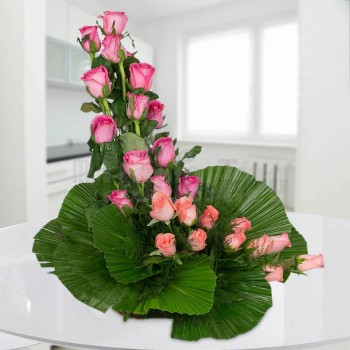 Floral Basket arrangement of 12 Orange Roses and 12 Pink Roses