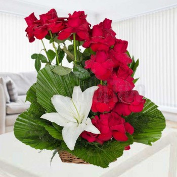 1 Asiatic White Lilies and 15 Red Roses arranged in a Basket