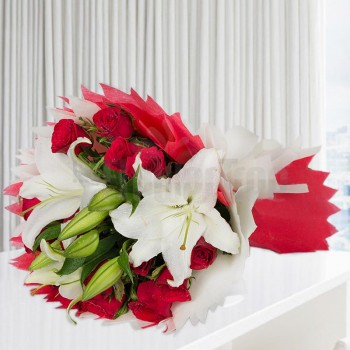 12 Red Roses and 3 White Asiatic Lilies wrapped in Red and White special paper