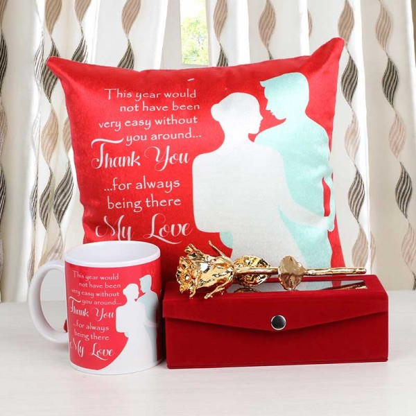 Thankyou Cushion, Mug with Gold Rose