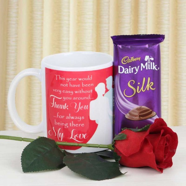 Thankyou Mug with Silk Chocolate and rose