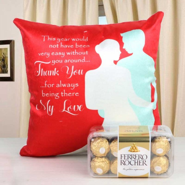 Combo of Thankyou Cushion and 16 pcs Ferrero Rocher Chocolate