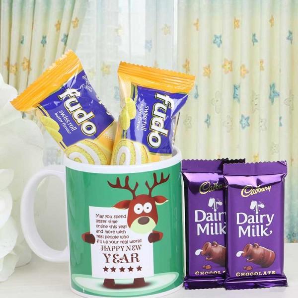 Happy New Year Mug with Dairy Milk Chocolate