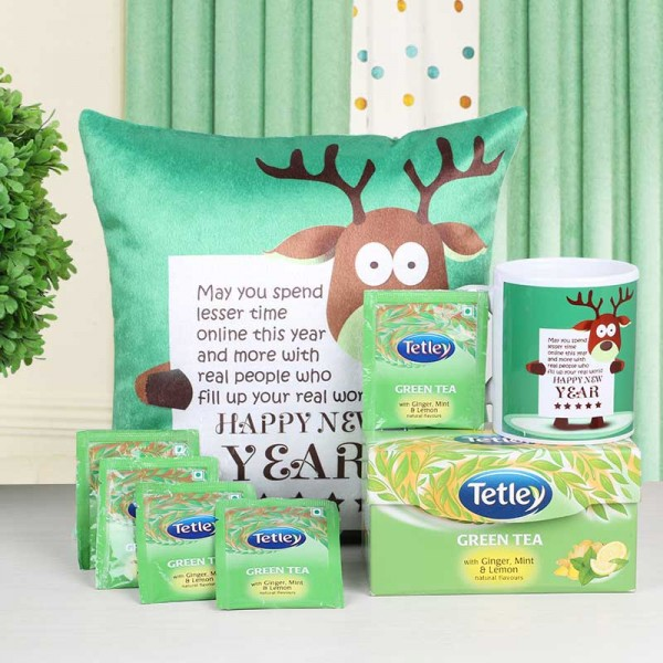 New Year Gift Hamper of Cushion, mug and Tetley Green Tea Pack