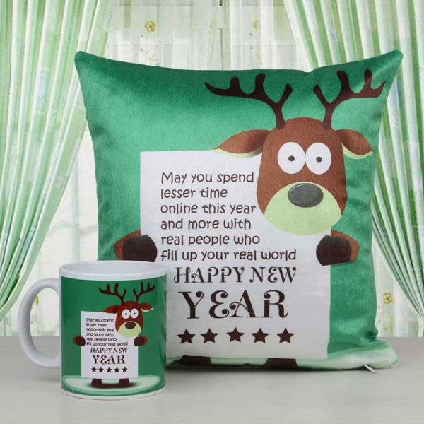 Happy New Year Printed Mug and Cushion