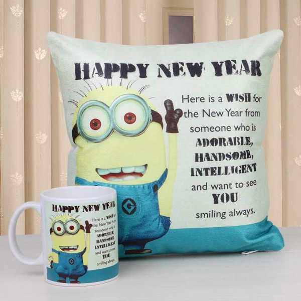Happy New Year Minion Printed Mug and Cushion