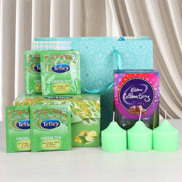 Cadbury Celebration with Candles and Green Tea