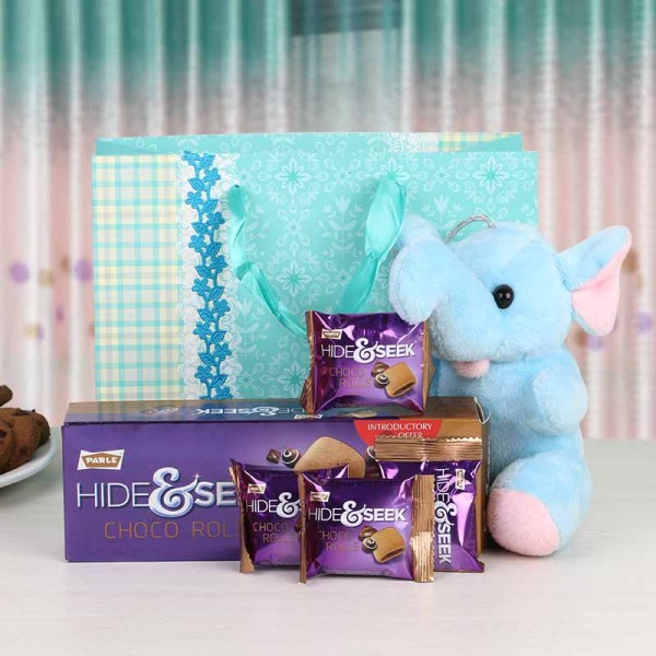 Elephant Soft Toy with Hide and Seek Choco rolls
