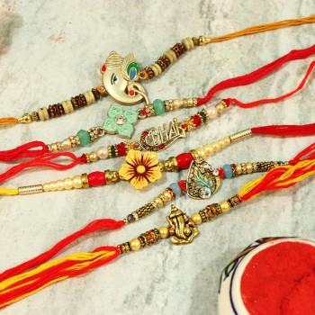 Glittering Designer Rakhi Pack of 6