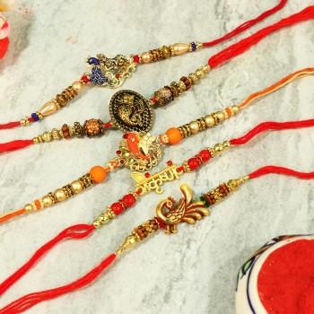Set of 5 Attractive Rakhi Combo